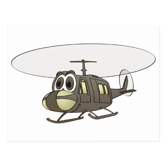 Huey Helicopter Cartoon Postcard