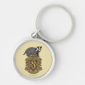 HUFFLEPUFF™ Crest Silver-Colored Round Keychain