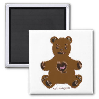 Hug-a-brown teddy bear Square Magnet