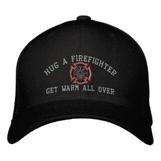 Hug A Firefighter Humorous Custom Embroidery Embroidered Baseball Hat