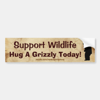 HUG A GRIZZLY Wildlife Support Fun Bumper Sticker Car Bumper Sticker