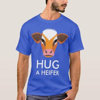 Hug a Heifer Funny Cow Face Custom Text T-Shirt