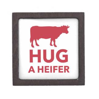 Hug a Heifer Funny Dairy Farm Keepsake Box