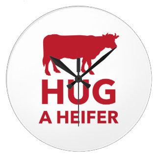 Hug a Heifer Funny Dairy Farm Large Clock
