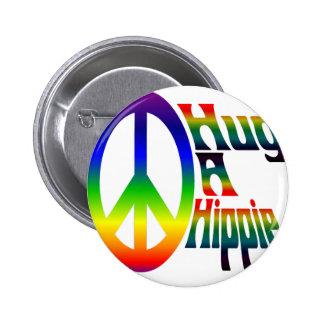 hug a hippie 2 inch round button