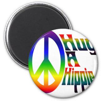 hug a hippie 2 inch round magnet