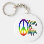 hug a hippie basic round button keychain