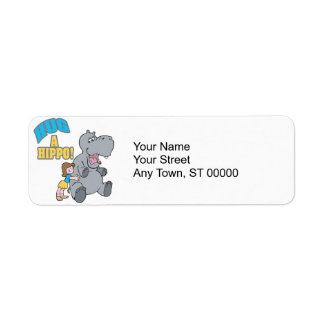 hug a hippo cute cartoon graphic label