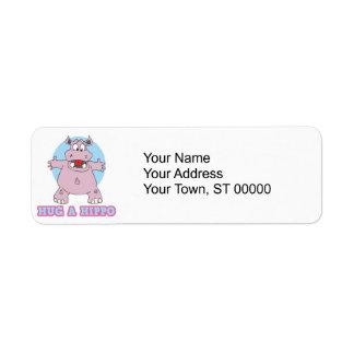 hug a hippo return address label