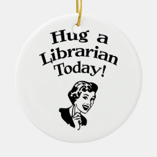 Hug A Librarian Double-Sided Ceramic Round Christmas Ornament