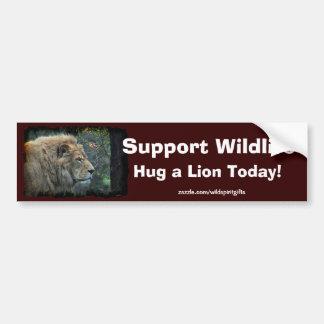 HUG A LION Wildlife-Supporter Fun Bumper Sticker