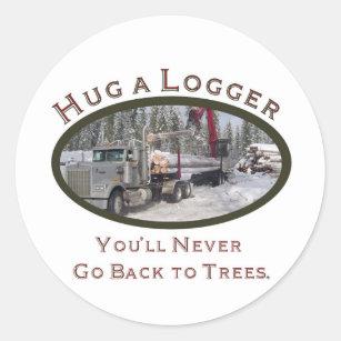 306c3db7 Hug A Logger Classic Round Sticker