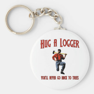 Hug A Logger.  You'll Never Go Back To Trees. Keychain