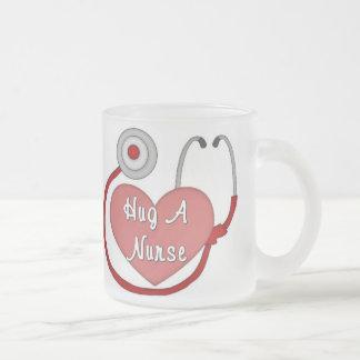 Hug A Nurse 10 Oz Frosted Glass Coffee Mug