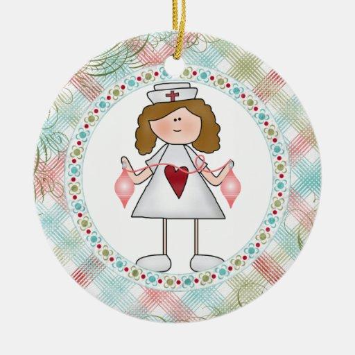 Hug a Nurse Cute Nurse for the Holidays Ceramic Ornament