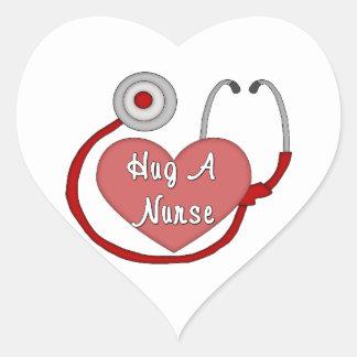 Hug A Nurse Heart Sticker