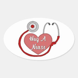 Hug A Nurse Oval Sticker