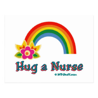 Hug a Nurse Rainbow Postcard
