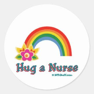 Hug a Nurse Rainbow Stickers