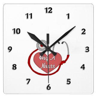 Hug A Nurse Square Wall Clock