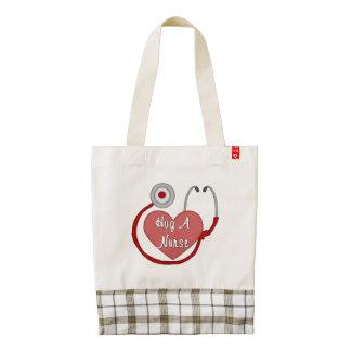 Hug A Nurse Zazzle HEART Tote Bag