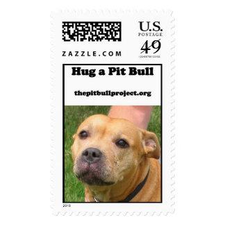 hug a pit bull stamp