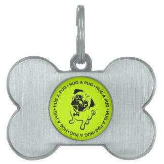Hug a Pug Bone Collar Charm Pet Name Tag