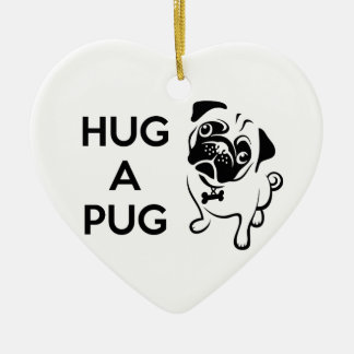 Hug a Pug Heart Ornament