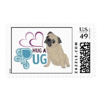 hug a pug postage stamp