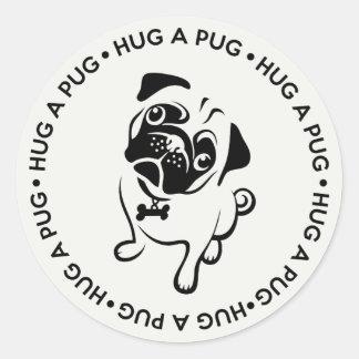 """Hug a Pug"" Round Stickers"