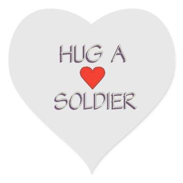 Hug a Soldier Heart Sticker