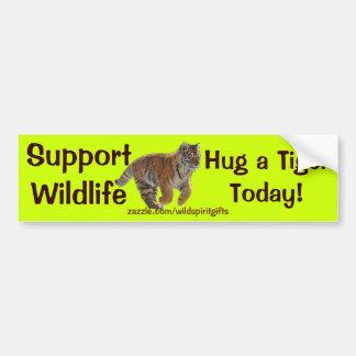 HUG A TIGER Wildlife Support Funny Bumper Sticker Car Bumper Sticker