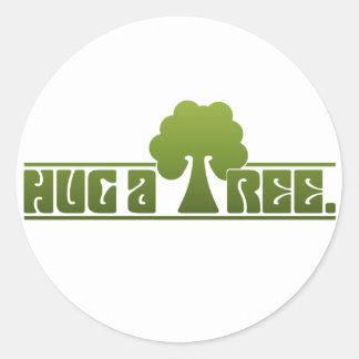 Hug a Tree Classic Round Sticker