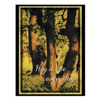 Hug A Tree Every Day Pop Art Postcard