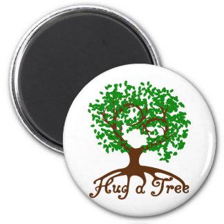 Hug a Tree Round Magnet