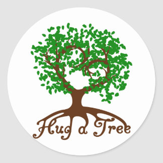 Hug a Tree Round Sticker