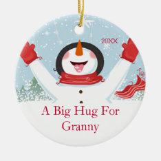 Hug For Granny Christmas Snowman Ornament at Zazzle