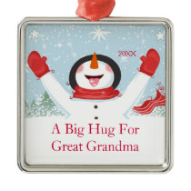 Hug for Great Grandma Christmas Snowman Ornament