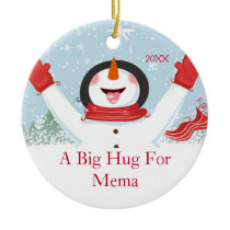 Hug for Mema Christmas Snowman Ornament