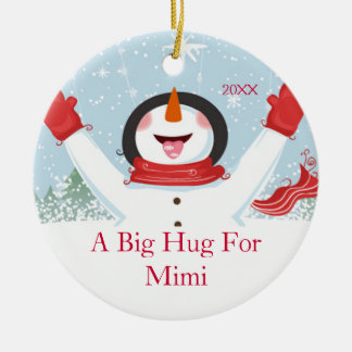 Hug for Mimi Christmas Snowman Ornament