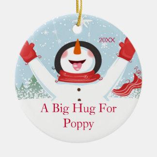 Hug for Poppy Christmas Snowman Ornament