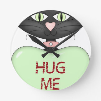 Hug me CAT-conversation heart Round Clocks