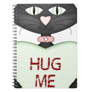 Hug me CAT-conversation heart Spiral Note Books