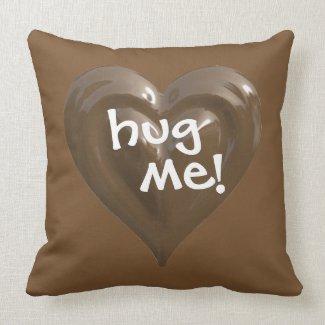 hug me chocolate heart throw pillow