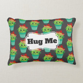 Hug Me Green Cactus in a Red Sombrero Pattern Accent Pillow