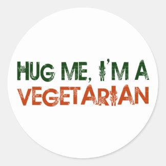 Hug Me I'M A Vegetarian Classic Round Sticker