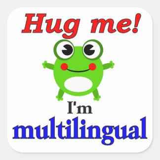 Hug me! I'm multilingual Square Sticker