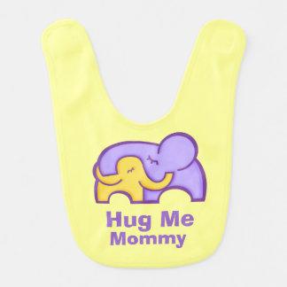 Hug me Mommy elephant purple yellow Baby bib