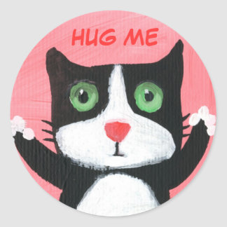 Hug me please classic round sticker
