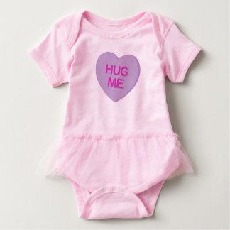Hug Me Purple Candy Heart Baby Bodysuit